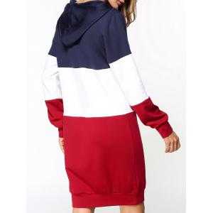 Patchwork Hoodie Dress - RED L