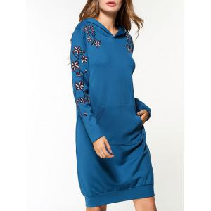 Flower Embroidered Pocket Hoodie Dress -