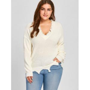 Plus Size V Neck Ribbed Raw Hem Sweater -