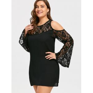 Plus Size See Through Lace Sleeve Cold Shoulder Dress -