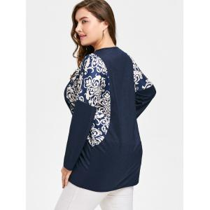 Graphic Drop Shoulder Plus Size Blouse -