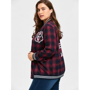 Plus Size Striped Plaid Letter Print Jacket -
