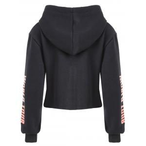 Lettre Imprimer Drawstring Cropped Graphic Hoodie -
