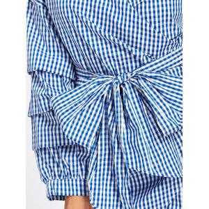 Wrap Bowknot Plaid Mini Blouse Tunic Dress -