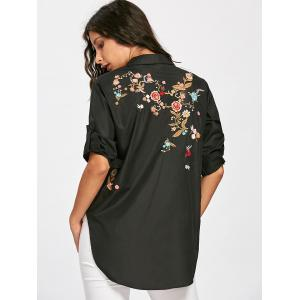 Floral Embroidery High Low Blouse -