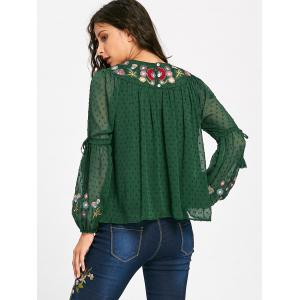 Floral Embroidered Tassel Bell Sleeve Blouse -