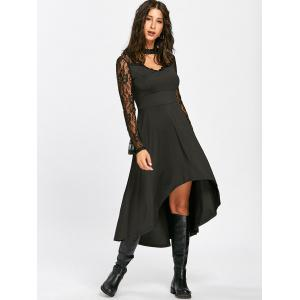 Mock Neck Laciness High Low Robe -