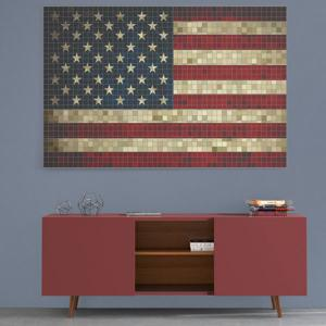 Mosaic American Flag Print Canvas Wall Art Painting -