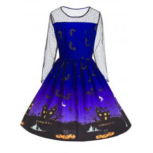 Plus Size Halloween Pumpkin Castle Print Vintage Dress -