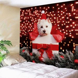 Waterproof Christmas Dog Printed Wall Hanging Tapestry -