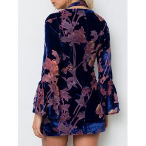 Flare Sleeve Velvet Floral Choker Dress -