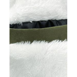 Faux Fur Collar Drawstring Appliques Fleece Coat -