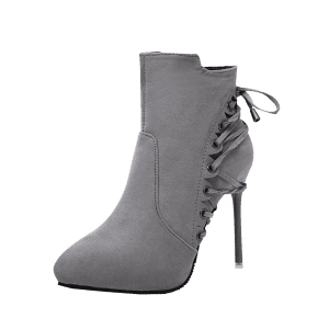 Stiletto Pointed Toe Eyelet Ankle Boots -