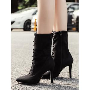 Lace Up Stiletto Pointed Toe Boots -