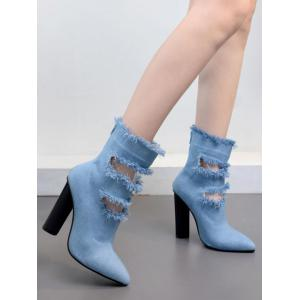 Chunky Heel Pointed Toe Hollow Out Boots -