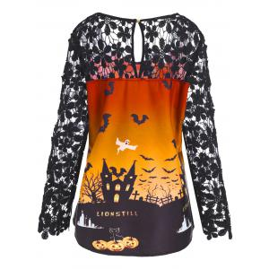 Plus Size Lace Panel Asymmetrical Halloween T-shirt -