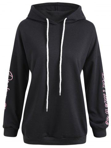 Hot Plus Size Letter Floral Embroidered Drawstring Hoodie - 2XL BLACK Mobile