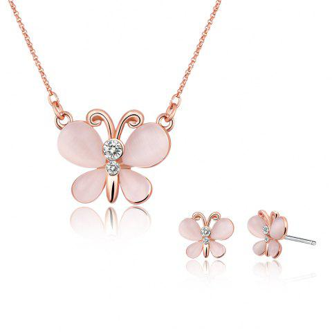 Affordable Rhinestone Faux Opal Butterfly Design Jewelry Set - ROSE GOLD  Mobile