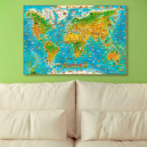 Outfit World Map Print Wall Art Canvas Painting SEA BLUE 1PC:24*39 INCH( NO FRAME )