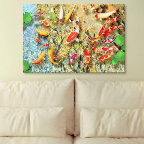 Best Wall Art Pond Goldfish Print Canvas Painting YELLOW 1PC:24*39 INCH( NO FRAME )