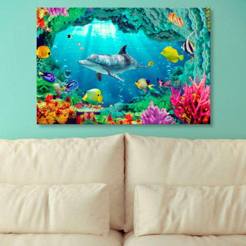 New Sea World Dolphin Print Wall Art Canvas Painting BLUE 1PC:24*39 INCH( NO FRAME )