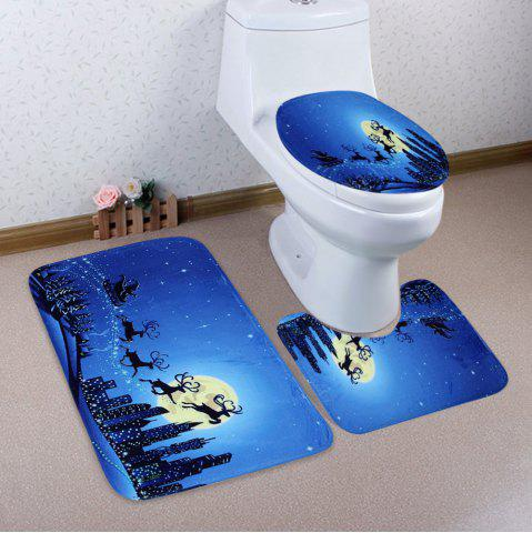 Blue 3pcs Christmas Sled Moon Toilet Bath Rugs Set