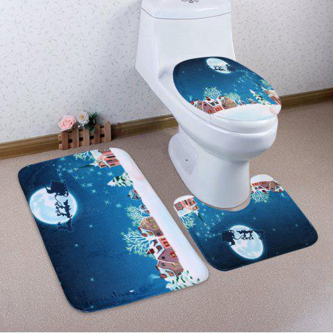 Outfit Christmas Snow Moon Sled 3Pcs Bath Rugs Set