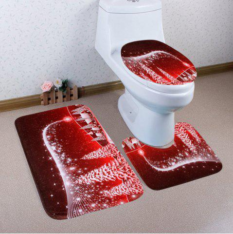Sale Christmas Village Pattern 3 Pcs Bath Mat Toilet Mat RED