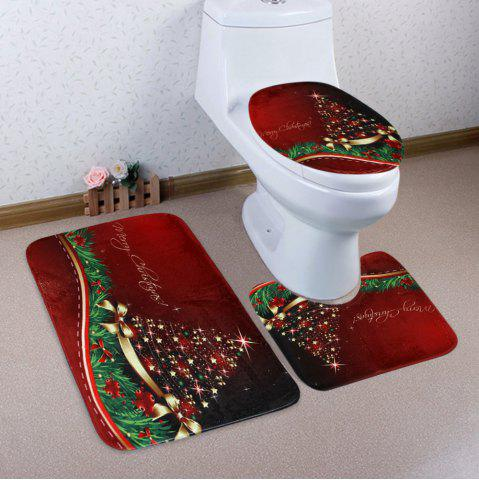 Unique Merry Christmas Star Pattern 3 Pcs Bath Mat Toilet Mat RED