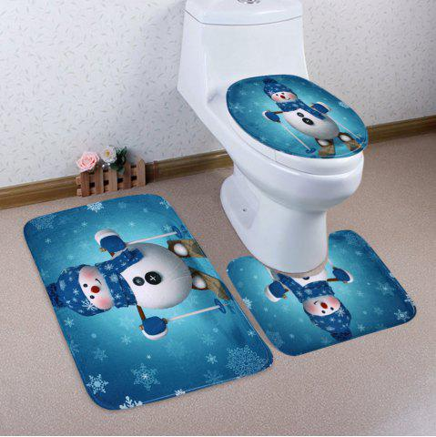 Cheap Christmas Snowman Skiing Pattern 3 Pcs Bath Mat Toilet Mat LAKE BLUE