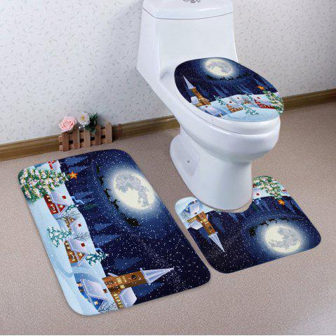 Christmas Night Pattern 3 Pcs Bath Mat Toilet Mat