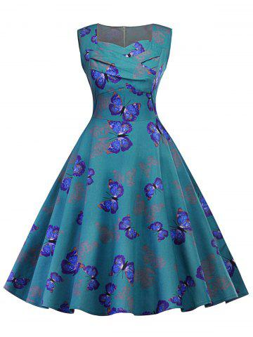 Buy Vintage Ruched Butterfly Print Pin Up Dress BLUE GREEN S
