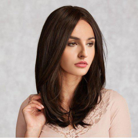 Outfit Middle Parting Long Natural Straight Synthetic Wig - BROWN  Mobile