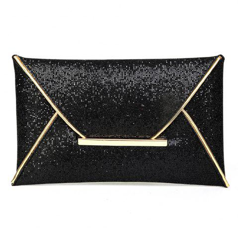Chic Envelope Glitter Metal Clutch Bag - BLACK  Mobile