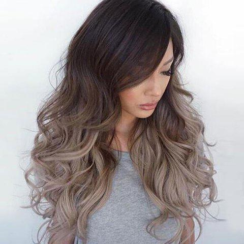 New Long Side Bang Shaggy Wavy Ombre Synthetic Wig