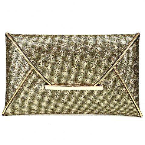 Fashion Envelope Glitter Metal Clutch Bag - GOLDEN  Mobile