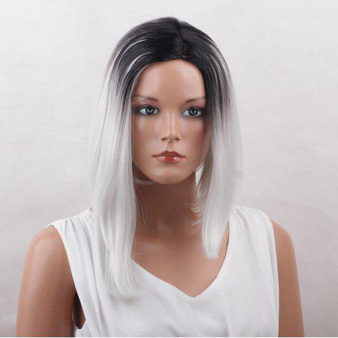 Outfit Medium Center Parting Straight Asymmetric Bob Colormix Synthetic Wig