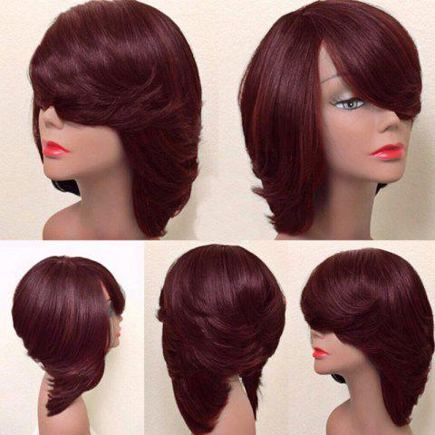 Chic Short Inclined Bang Thick Straight Feathered Bob Synthetic Wig - WINE RED  Mobile