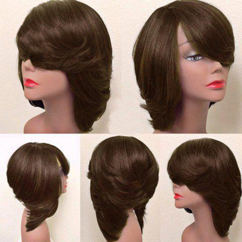 Latest Short Inclined Bang Thick Straight Feathered Bob Synthetic Wig BROWN