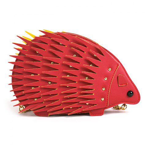 Hot Rivet Hedgehog Shape Chain Crossbody Bag - RED  Mobile