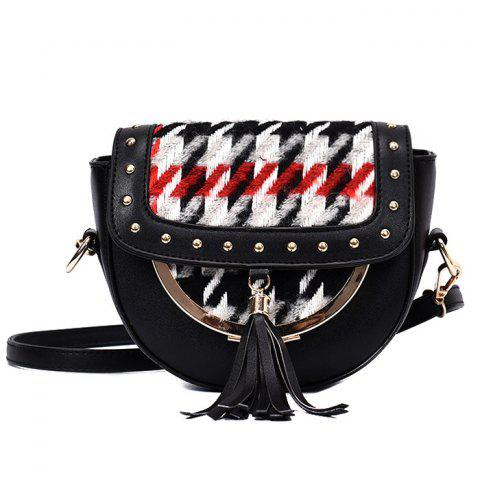 Hot Rivet Tassel Plaid Crossbody Bag BLACK