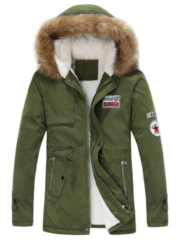 Sale Faux Fur Collar Drawstring Appliques Fleece Coat - 3XL ARMY GREEN Mobile