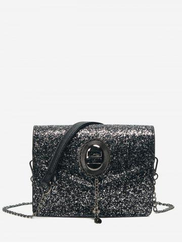 Fancy Chain Glitter Crossbody Bag BLACK