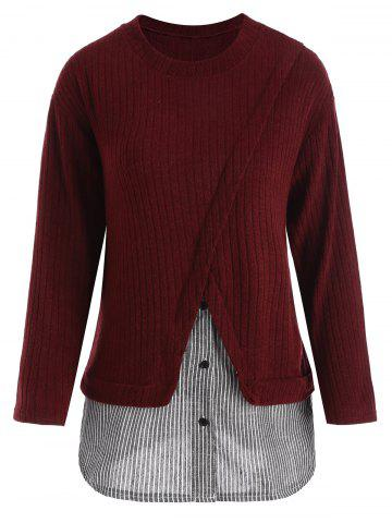 Outfit Striped Insert Drop Shoulder Plus Size Knitwear WINE RED 4XL