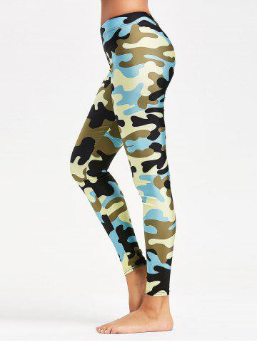 Trendy Camouflage Printed Stretchy Yoga Leggings BLUE S