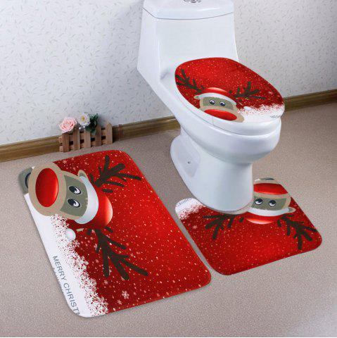 Hot Christmas Deer Pattern 3 Pcs Bath Mat Toilet Mat - RED  Mobile