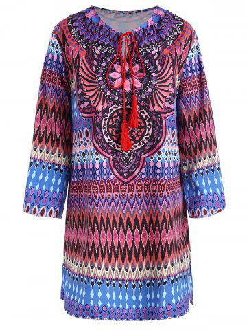 Trendy Plus Size Keyhole Tassel Ethnic Blouse - 3XL COLORMIX Mobile