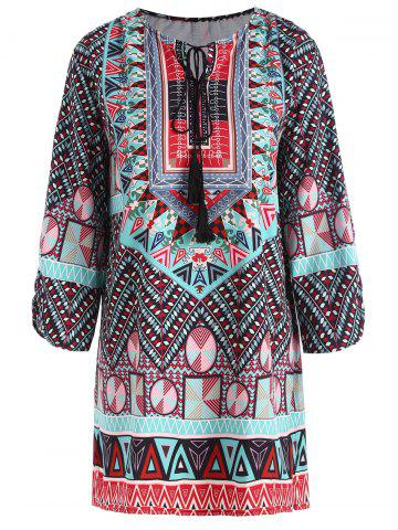 Shop Plus Size Keyhole Tassel Tribe Print Blouse COLORMIX 3XL