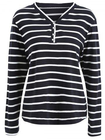 Bouton de taille Plus Embellished Striped V Neck Tee Rayure 2XL