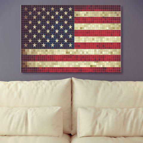 Best Mosaic American Flag Print Canvas Wall Art Painting US FLAG 1PC:24*39 INCH( NO FRAME )